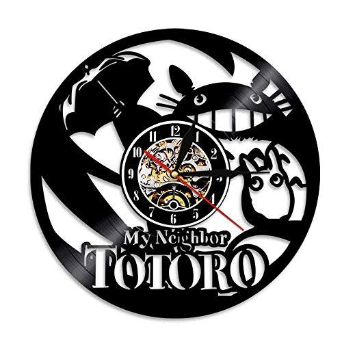 mebeaty Vinyl Rekord Wanduhr Chihiros, Mein Nachbar Totoro Runde hohl Vinyl Material Dekoration Uhr, kreative Dekor dekorative Uhr Geschenk für Mann, Frau, Freund und Freundin, 12 '', 0288