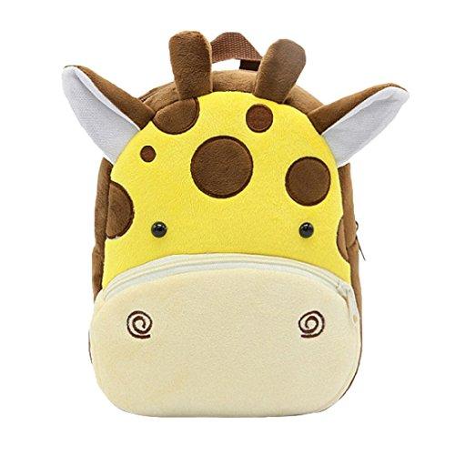 GWELL Süß Tier Babyrucksack Plüsch Kindergartenrucksack Backpack Schultasche Mädchen Jungen Reisetasche Giraffe -