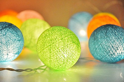 20 Balls Home Decoration Light Thai Cotton Balls String Series (LADI) Festival Lamp Creative Gift Diwali Christmas Wedding Halloween (US Socket PIN)