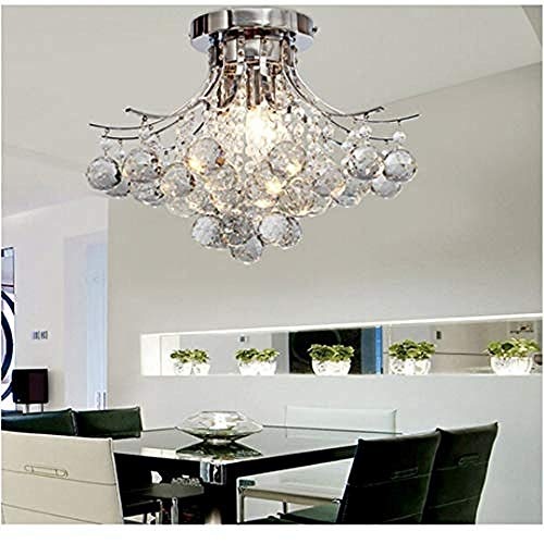 Loft Chandelier Chrome Finish Crystal Chandelier With 3 Lights Mini Style Flush Mount Ceiling Light Fixture For Study Room/Office Dining Room Bedroom Living Room -