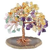 mookaitedecor Árbol de Dinero, Gemas Feng Shui Adornos de árbol de Cristal curativo Figuras de árbol, ágata de geoda de Cuarzo Soporte, Surtido