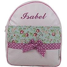 Mochila o Bolsa Infantil Personalizada con Nombre en plastificado y Franja de Flores. Modelo Cintia