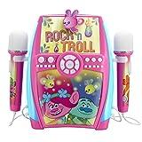 Trolls Karaoke Anlage für Kinder mit Mikrofonen Maschine rosa/blau/weiß