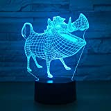 Leisurely Lazy Animal Boar Shape 3D Optical Illusion Lamp 7 Colors Change and 15 Keys Remote Control LED Table Desk Lamp for Home Bedroom Decoration