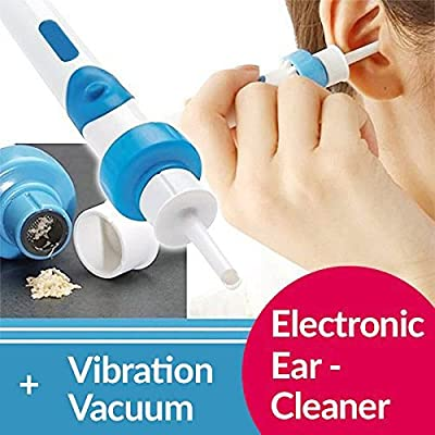 Lorcoo Ear Wax Remover Cleaner Kit, Blue Electric Vacuum Ear Cleaner Cordless Safely Easily Suction Painlessly Drain (Battery Operation)