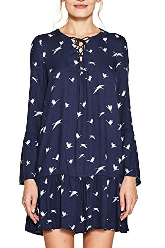 ESPRIT Damen Kleid 087EE1E017 Mehrfarbig (Navy 400), 38