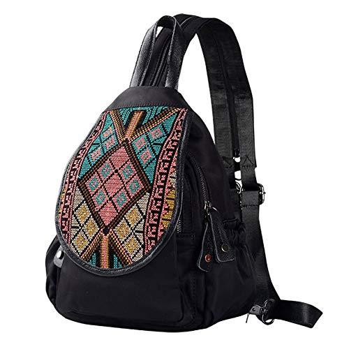 DEI QI Rucksack Outdoor Reise Dame Retro Leinwand Umhängetasche Brusttasche Rucksack Mini Bag Kleine Tasche Freizeit Reisetasche Rucksäck...