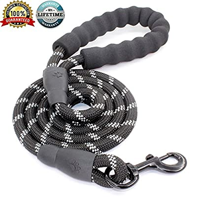 JBYAMUK 5 FT Strong Dog Leash with Comfortable Padded Handle and Highly Reflective Threads for Medium and Large Dogs from JBYAMUK