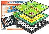 BSD Spiele 7in1 Satz von Brettspielen Ludo Checkers