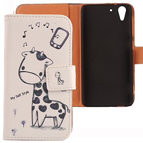 Lankashi PU Flip Leder Tasche Hülle Case Cover Schutz Handy Etui Skin Für HTC Desire Eye Giraffe Design