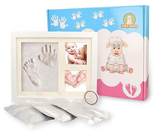 Babysheep® Bilderrahmen aus Holz für Baby Gipsabdrücke 3d Handabdruck und Fußabdruck - tolles Geschenk zur Geburt oder Taufe - Erinnerungen mit dem Set Gipsabdruck für immer festzuhalten