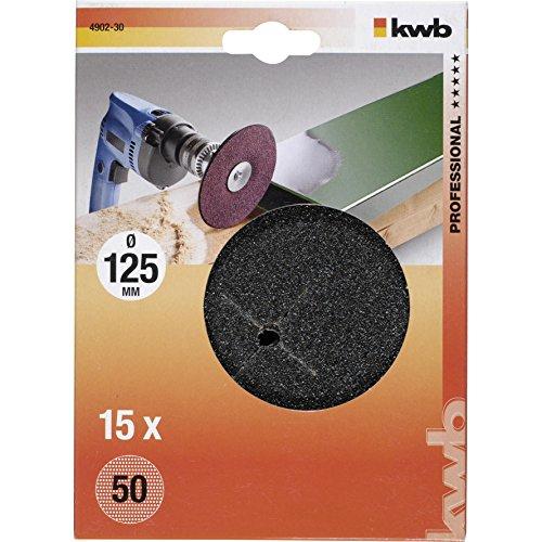 KWB Disques abrasifs Grain de bois et métal 50, 125 mm, lot de 15, 4902–30