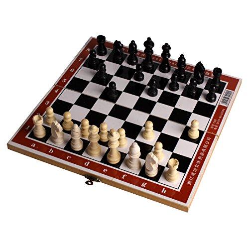 Andux Schach Schachspiel Schachset aus Holz Kassette Holz-Schachspiel GJXQ-01