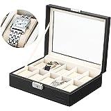 VonHaus Faux Leather 10x Watch/Jewellery Display Case Watch Box Black