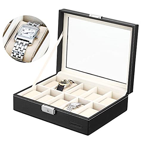 VonHaus 10 Watch and Jewellery Display Box | Black Faux Leather