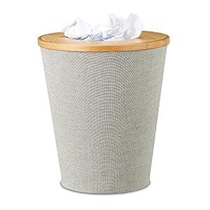 Relaxdays Papierkorb Bambus, runder Abfallkorb mit Inneneimer und magnetisch schließendem Deckel, 35 cm hoch, natur/grau