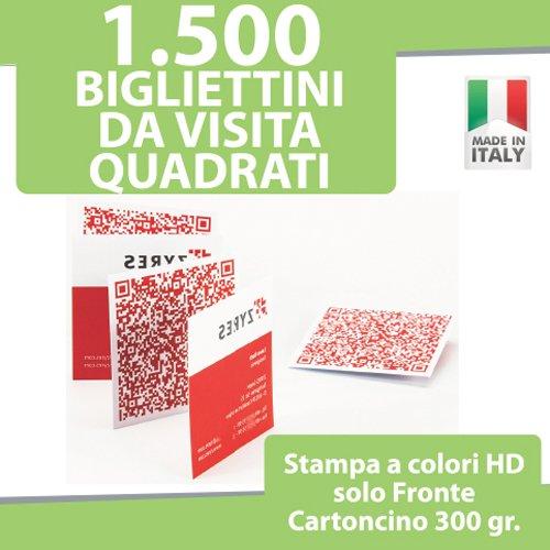 1500 BIGLIETTI DA VISITA QUADRATI Bigliettini STAMPA solo FRONTE a COLORI personalizzati printerland.it