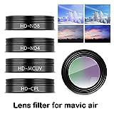 Haihuic 5 Stück Linsenfilter-Kit für DJI Mavic Air Drone Quadcopter, ND4 / ND8 / ND16 / CPL/UV-Filter, Kratzfestes optisches Glas (Schwarz)