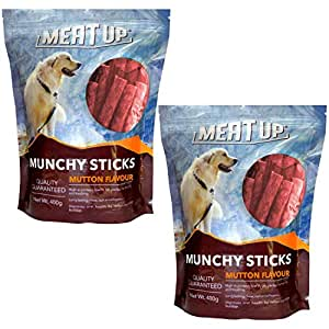 Meat Up Munchy Sticks, Mutton Flavour, Dog Treats, 400 g (Buy 1 Get 1 Free)
