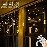 BLOOMWIN USB Lichtervorhang 3x0,65M 120LEDs Kugel Lichterkette Warmweiß Weihnachtsbeleuchtung Stimmungslichter innen für Fenster Weihnachten Party Feiertage Fensterdeko Dekobeleuchtung