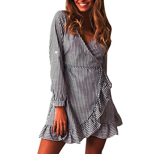 BBring Damen V-Ausschnitt Hemdkleid Tunika Blusen Kleider Oberteile Shirt Rüschen Wrap Taille Krawatte Minikleid (M, Navy)