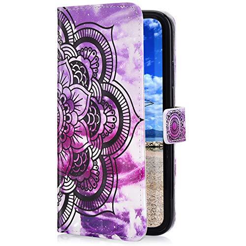 Uposao Funda Compatible con Samsung Galaxy J7 2016 Funda Piel Sintética PU Cuero Libro Billetera Carcasa Brillante Glitter 3D Motif Marbre Soporte Plegable,Magnético Flip Funda,Mandala Morado