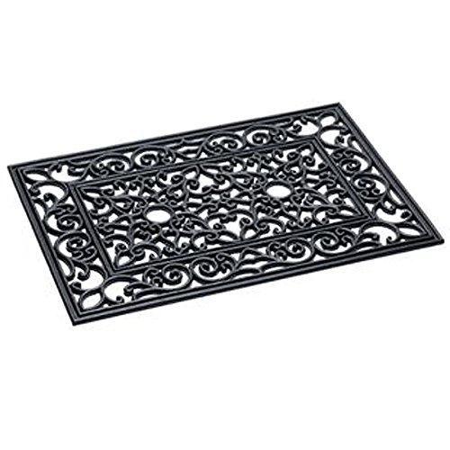 Fußmatte Türmatte rechteckig Gummi Gusseisen Look Fussabtreter 40 x 60 cm