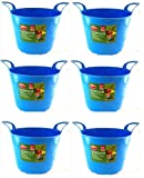 7 Litre Mini Gummi Flexi Tub Korb Aufbewahrungsbehälter Gartenarbeit DIY Haushalt - Blau