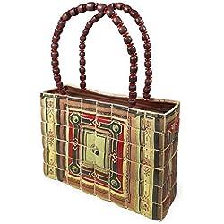 PERLETTI Bolso de Hombro para Mujer en Madera de Bamboo - Bolsa de Mano de Estilo Étnico - Hecha a Mano - Tamaño : 24 x 18 x 5 cm - Cierre de Cremallera - Asa Roja con Abalorios