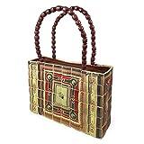 PERLETTI Borsa a Spalla per Donna in Legno di Bamboo - Borsetta a Mano in stile Etnico - Fatta a Mano - 24x18x5 cm - Chiusura con Cerniera (Manico Rosso con perline)