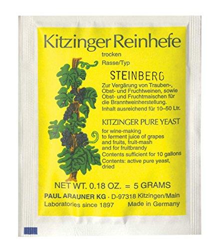 WEINHEFE STEINBERG Arauner Kitzinger – Trocken Reinhefe für 50L | Naturhefe | Obstwein hefe |...