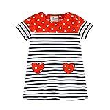 JERFER Mädchen Liebe Punkt Streifen T-Shirt Top Bluse Kurzarm-Shirt 1.5-6Jahre (Rot, 6T)