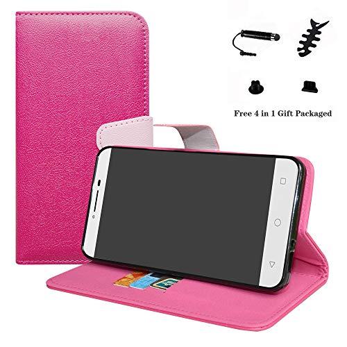 LFDZ Alcatel A3 XL Hülle, [Standfunktion] [Kartenfächern] PU-Leder Schutzhülle Brieftasche Handyhülle für Alcatel A3 XL Smartphone (mit 4in1 Geschenk Verpackt),Pink