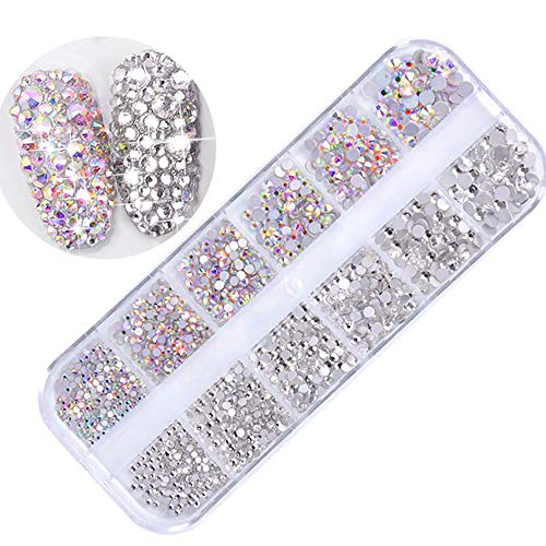 1440 StüCk Nail Art Strass Diy Kit Nail Strass, Multicolor Nail Studs Horse Eye Strass FüR Nail Art Dekorationen Supplies,N9 (Diamond Stud 4mm)