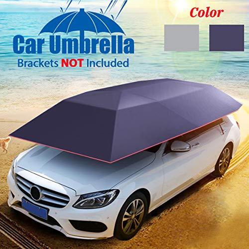 GEMITTO Paraguas automático Universal para Coche, Cubierta protectora de paraguas de coche impermeable 400 x 210 cm, No incluye los soportes, Plateado