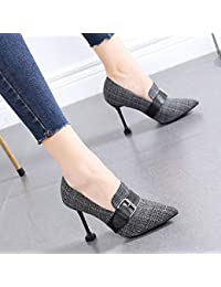 cd9ed0668 HRCxue Zapatos de la Corte Zapatos de Mujer de Moda a Cuadros con Tacones  Altos