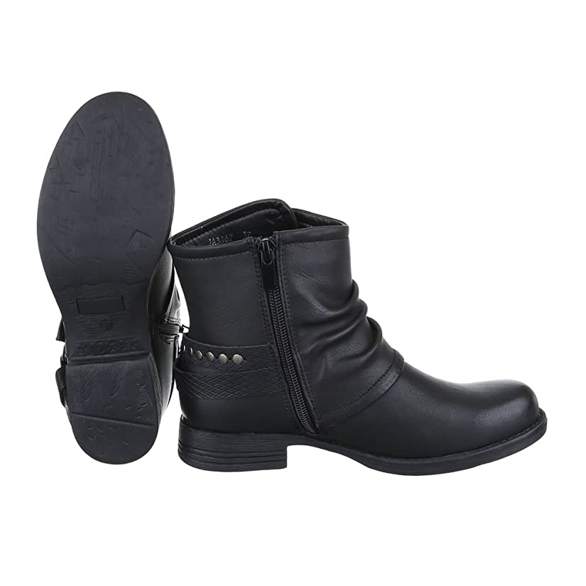 Boots / Bikerboots Damen Schuhe Biker Boots Blockabsatz Moderne  Reißverschluss Ital-Design Stiefeletten: Amazon.de: Schuhe & Handtaschen