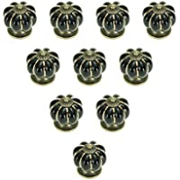 MITE 10pcs Ceramic Vintage Pumpkin Handles Knobs for Drawers Cabinets Doors Furniture Kitchen Home Decorating(Black)