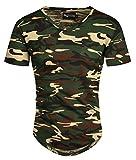 A. Salvarini Herren Designer T-Shirt Kurzarm Oversize Sommer Shirts Basic V-Ausschnitt V-Neck Rundhals (Gr. M, V-Neck - Camouflage)