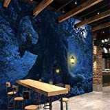 HD-Bild schöne Fantasy Wald Baum Mond Nacht Landschaft Baum Halloween Hintergrund Wandmalerei