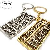 generisch Abacus - Llavero con colgante de plata dorada, diseño de abacus de metal, 2 colores