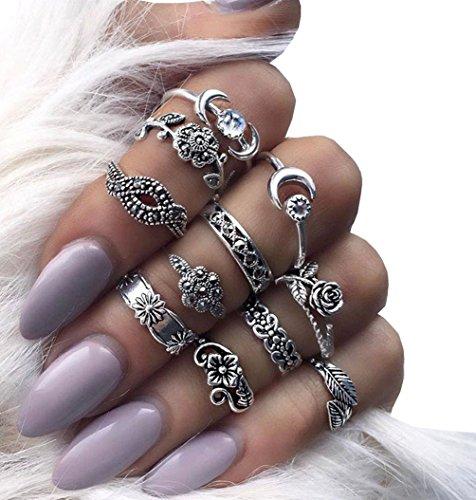 Preisvergleich Produktbild 11Pcs Damen Knuckle Ring Set Vintage Midi Ring Mond-Blumen Ringe Schmuck