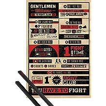 Póster + Soporte: El Club De La Lucha Póster (91x61 cm) 8 Reglas, Infografía Y 1 Lote De 2 Varillas Negras 1art1®