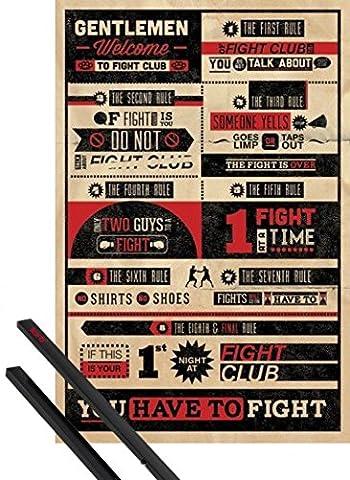 Poster + Hanger: Fight Club Poster (91x61 cm) 8 Regeln, Ihr Verliert KEIN WORT Inklusive Ein Paar 1art1® Posterleisten,