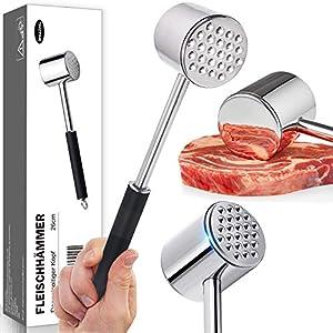 DINGHENG Fleischklopfer, doppelseitig Fleischhämmer Hergestellt aus hochwertigem 304 Edelstahl,spülmaschinengeeignet