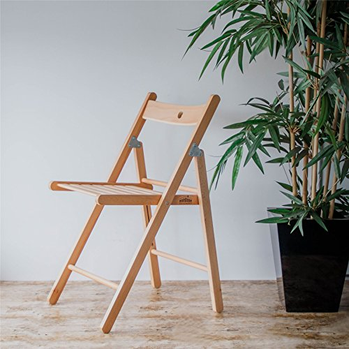 Harbour Housewares Wooden Folding Chairs - Natural Wood Colour - Pack of 4