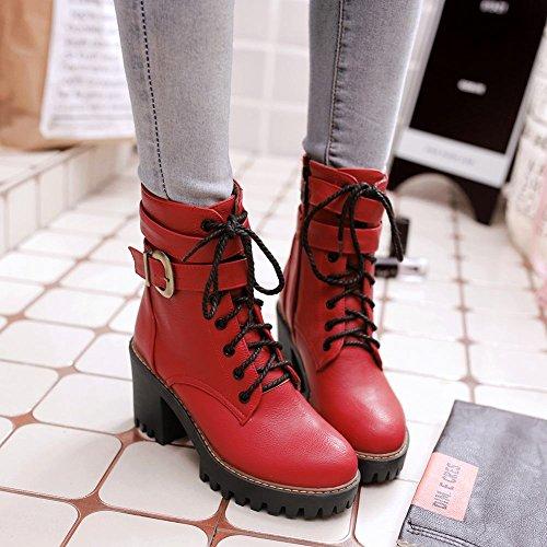 Mee Shoes Damen chunky heels runde mit Schnürsenkel Reißverschluss Stiefel Rot