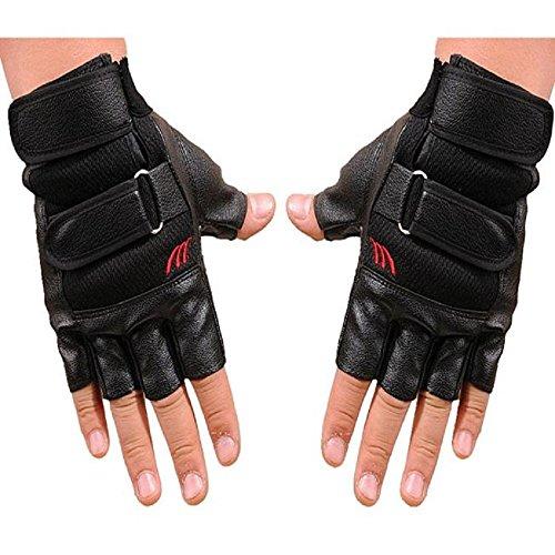Guanti,WINWINTOM Uomo Sport Gym Esercizio Fitness Training Guanti Mezzi Finger Leather (Guanti Moto Meteo Pelle)
