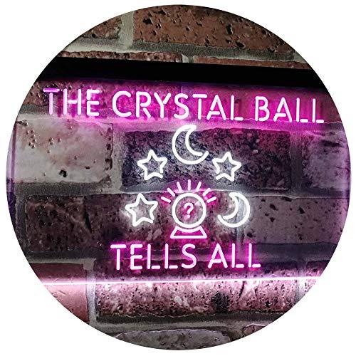 ADVPRO Fortune Teller Palm Tarot Reader Crystal Ball Dual Color LED Barlicht Neonlicht Lichtwerbung Neon Sign White & Purple 16