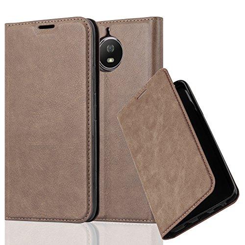 Cadorabo Hülle für Motorola Moto G5S - Hülle in Kaffee BRAUN – Handyhülle mit Magnetverschluss, Standfunktion und Kartenfach - Case Cover Schutzhülle Etui Tasche Book Klapp Style